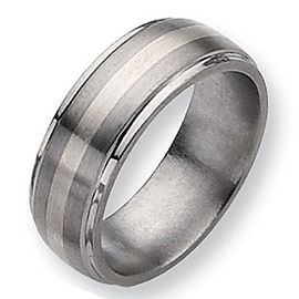 Chisel Sterling Silver Inlaid Ridged Edge Brushed & Polished Titanium Ring (8.0 mm)