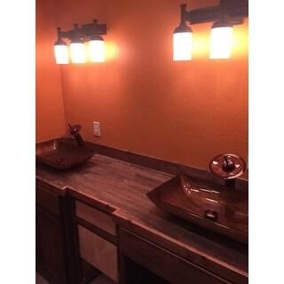 Shop Vigo Rectangular Amber Sunset Glass Vessel Sink And