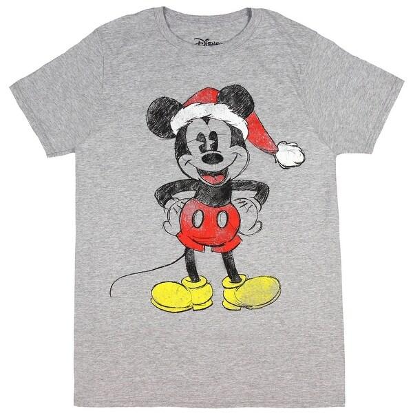 49b34437d8 Disney Mens Mickey Mouse Shirt Distressed Sketch Mickey In Santa Hat  Christmas Holiday T-Shirt