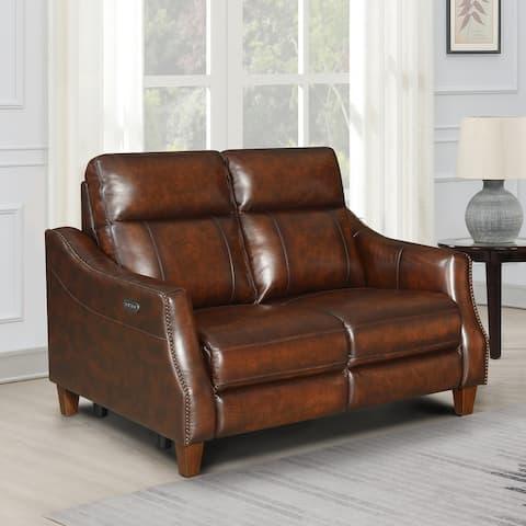 Copper Grove Arlo Top Grain Leather Reclining Loveseat