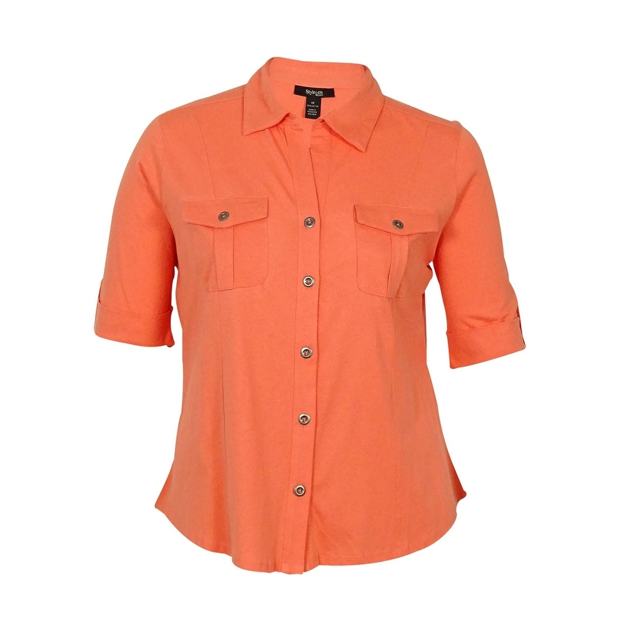 Style & Co. Womens Pocketed Front Button Top