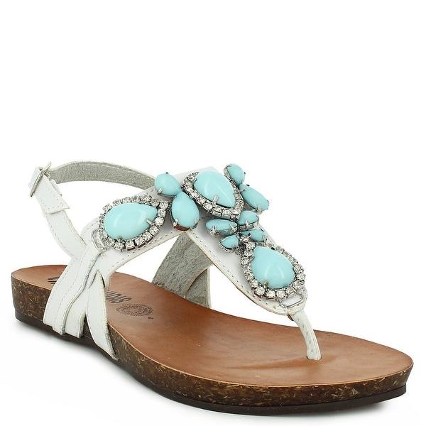 c713707f7b6fe0 Shop Nomadas Adult White Turquoise Fantasy Jewelry Flip Flop Sandals ...