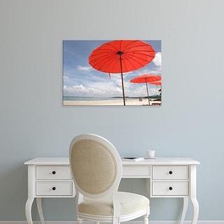 Easy Art Prints Gavriel Jecan's 'Beach Landscape And Tourists' Premium Canvas Art