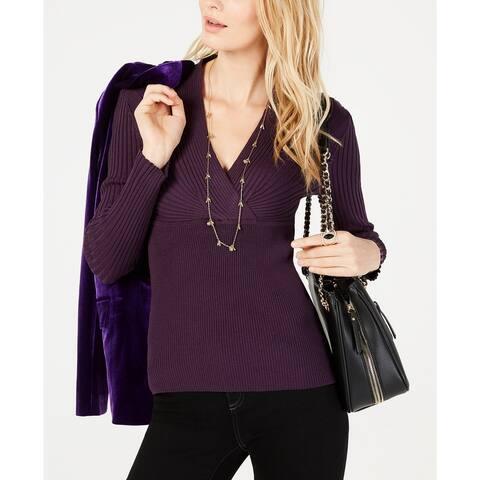 INC International Concepts Women's Ribbed Surplice Sweater Purple Size XX-Large