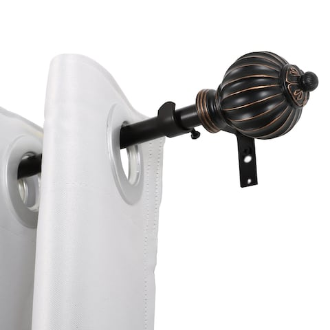 UTOPIA ALLEY 3/4 Inch Curtain Rod, Adjustable Single Decorative Drapery Rod for Windows 28 to 48inch