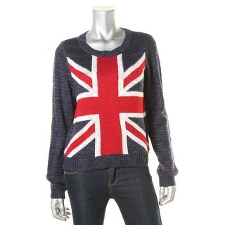 Rebellious One Womens Juniors British Flag Metallic Pullover Sweater