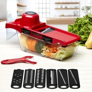 Vegetable Slicer Cutter Chopper Grater Julienne w/6 Interchangeable Blades, 1 Peeler, 1 Hand Protector and more - 50 x 84