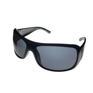 Perry Ellis Sunglass PE06 1 Mens Black Rectangle Plastic Wrap, Gradient Lens - Medium