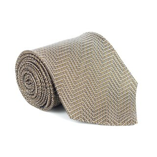 Tom Ford Mens Gold Silk Blend Woven Zig Zag 4 Inch Wide Neck Tie