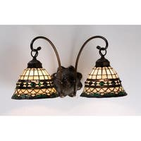 """Meyda Tiffany 18530 Roman 18"""" Wide 2 Light Double Sconce with Art Glass Shades"""