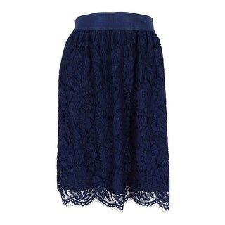 Vince Camuto Women's Scallop Lace Full A-Line Skirt - Naval Navy