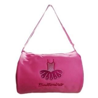 "Wenchoice Girls Pink Ballet Dress ""Ballerina"" Detail Dance Stylish Duffel Bag - One size"