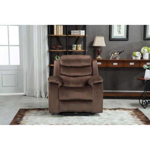 Q-Max Power Recliner Chair with USB Port, Electric Reclining Chair with Pillow Top Arms, Bedroom and Living Room Chair