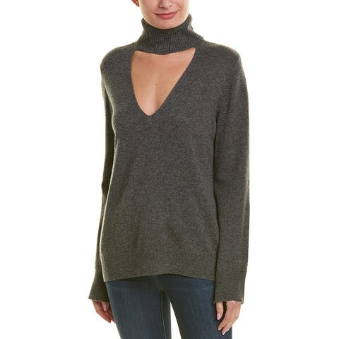 A.L.C. Cutout Wool & Cashmere-Blend Turtleneck - FLN FLANNEL
