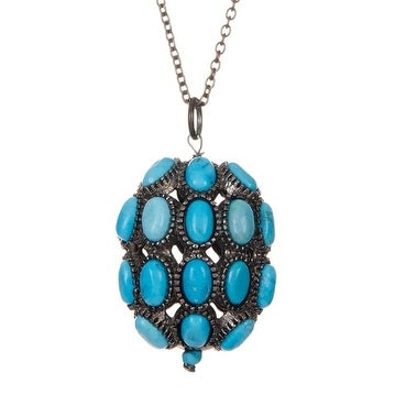 Sterling Silver Genuine Turquoise Pendant Necklace