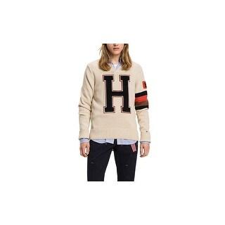 Tommy Hilfiger Beige Men Size Large L H Embroidered V-Neck Sweater