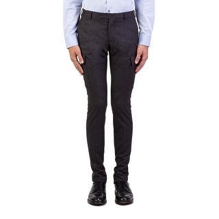 Dior Homme Men's Wool Slim Fit Cargo Dress Trousers Pants Grey
