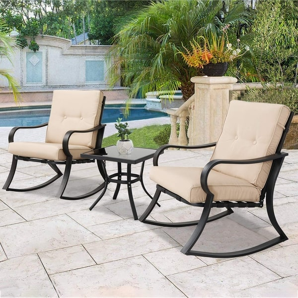 Lawns Gray Deck Poolside Porch SOLAURA Outdoor Furniture 3-Piece Rocking Bistro Set Brown Wicker with Soft Cushions /& Glass Coffee Table for Yard