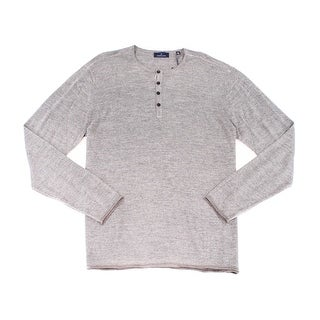 Toscano NEW Gray Mens Size 2XL Long Sleeve Henley Wool Knit Sweater