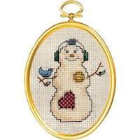 "Snowman & Bluebird Mini Counted Cross Stitch Kit-3""X4"" 14 Count"