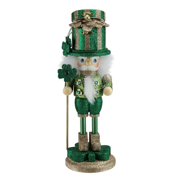 "12"" Hollywood Luck of the Irish Green and Gold Pot of Gold Christmas Nutcracker"