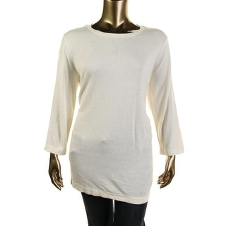 Jones New York Womens Plus Knit Boat Neck Pullover Sweater - 1X