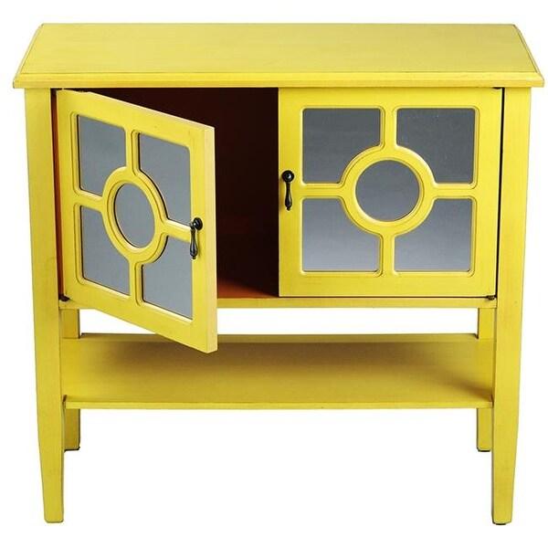 Hampton 2 Door Console Cabinet With Lattice Mirror Inserts