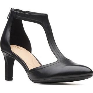 Clarks Women's Calla Lily T Strap Sandal Black Full Grain Leather