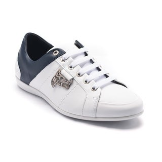 Versace Collection Men's Medusa Logo Low Top Sneakers Shoes White Navy