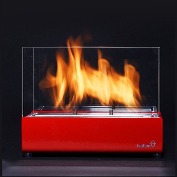 Ivation Vent less Compact Tabletop Fireplace – Red Stainless Steel ...
