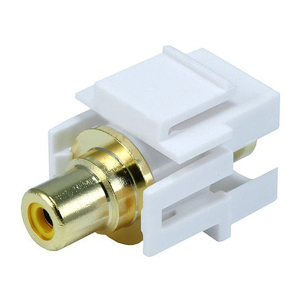 Monoprice Modular RCA Coupler Keystone Jack w/Yellow Center, Flush Type - White