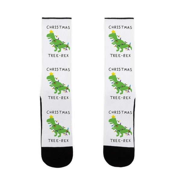 Christmas Tree Rex US Size 7-13 Socks by LookHUMAN