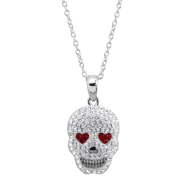 Crystaluxe Heart Eyes Skull Pendant with Swarovski Crystals in Rhodium-Plated Sterling Silver - White