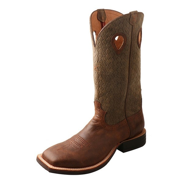 Twisted X Western Boots Mens Silver Buckle Ruff Stock Brown