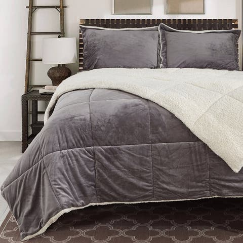 Reversible Fauxfur/ Sherpa Down Alternative Filled Comforter Set