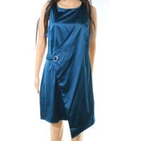 The Vanity Room Blue Womens Size XS Faux-Wrap Satin Sheath Dress