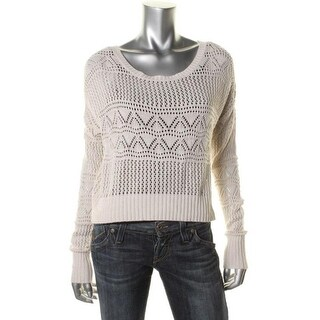 Jack Womens Crochet Open Stitch Pullover Sweater - M