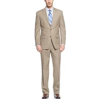 Michael Kors MK Beige Plaid Suit 38 Short 38S Flat Front Pants 31W