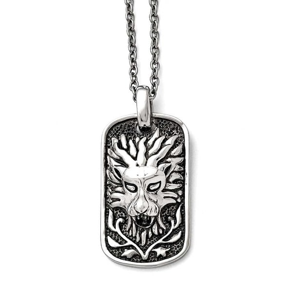 Chisel Stainless Steel Polished and Antiqued Lion Dogtag Necklace - 22 in