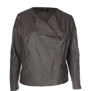 BB Dakota Womens Plus Irene Motorcycle Jacket Faux-Leather Lined