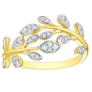 Prism Jewel 0.24Ct Round G-H/I1 Natural Diamond Olive Leaf Ring