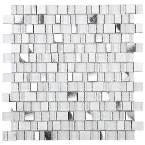 TileGen. Small Cube Random Sqaure Mixed Material Tile in White Wall Tile (10 sheets/10sqft.)