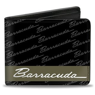 Barracuda Script Stripe Monogram Black Gray Olive Silver Bi Fold Wallet - One Size Fits most