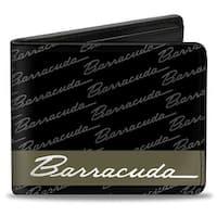 Barracuda Script Stripe Monogram Black Gray Olive Silver Bi Fold Wallet - One Size Fits most