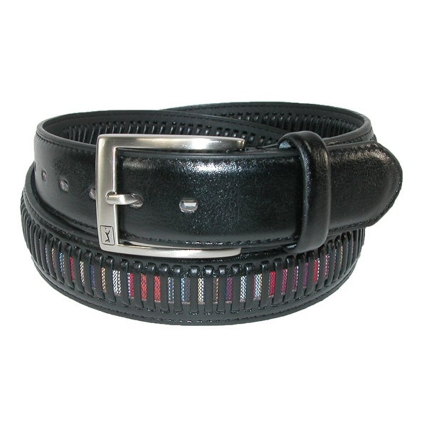 PGA TOUR Men's Leather Golf Belt with Fabric Inlay