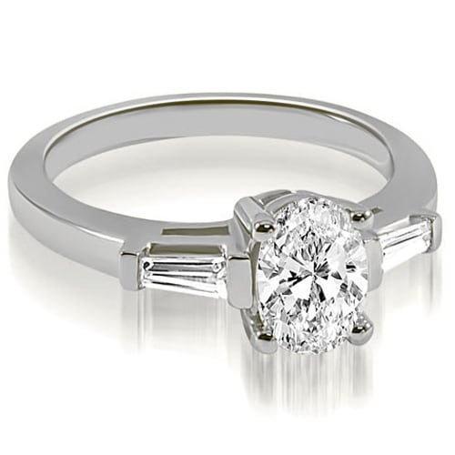 1.00 cttw. 14K White Gold Oval and Baguette Three Stone Diamond Engagement Ring