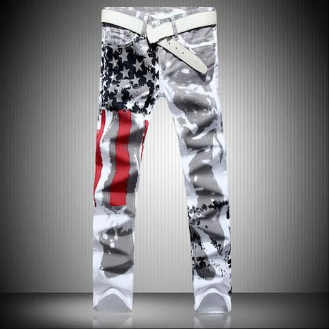 Men Slim Fit White Straight Distressed Ripped Denim Casual Pants Skinny Jeans