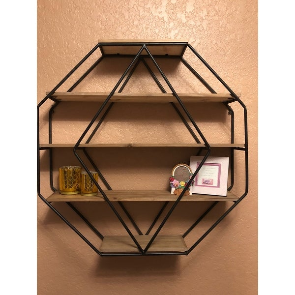 Shop Kate And Laurel Lintz Wood Octagon Floating Wall Shelves