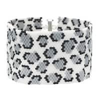 Snow Leopard Print Peyote Bracelet - Exclusive Beadaholique Jewelry Kit