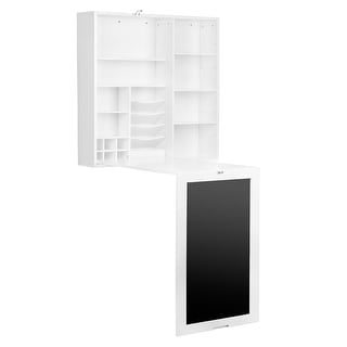 Link to Utopia Alley Fold-Out Wall Mount Desk with Storage Cabinet and Shelves, White Similar Items in Computer Desks